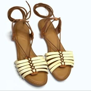 4e7c6f27aa4 Old Navy Tan Brown Strappy Sandals with ankle Ties
